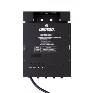 Leviton D4DMX-MD3, 4-Channel Programmable Dimmer Pack, 3 Pin